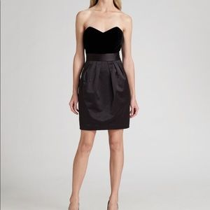 Theory Velvet and Satin Strapless Dress